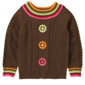 Gymboree Winter Cheer Dot Flower Brown Sweater